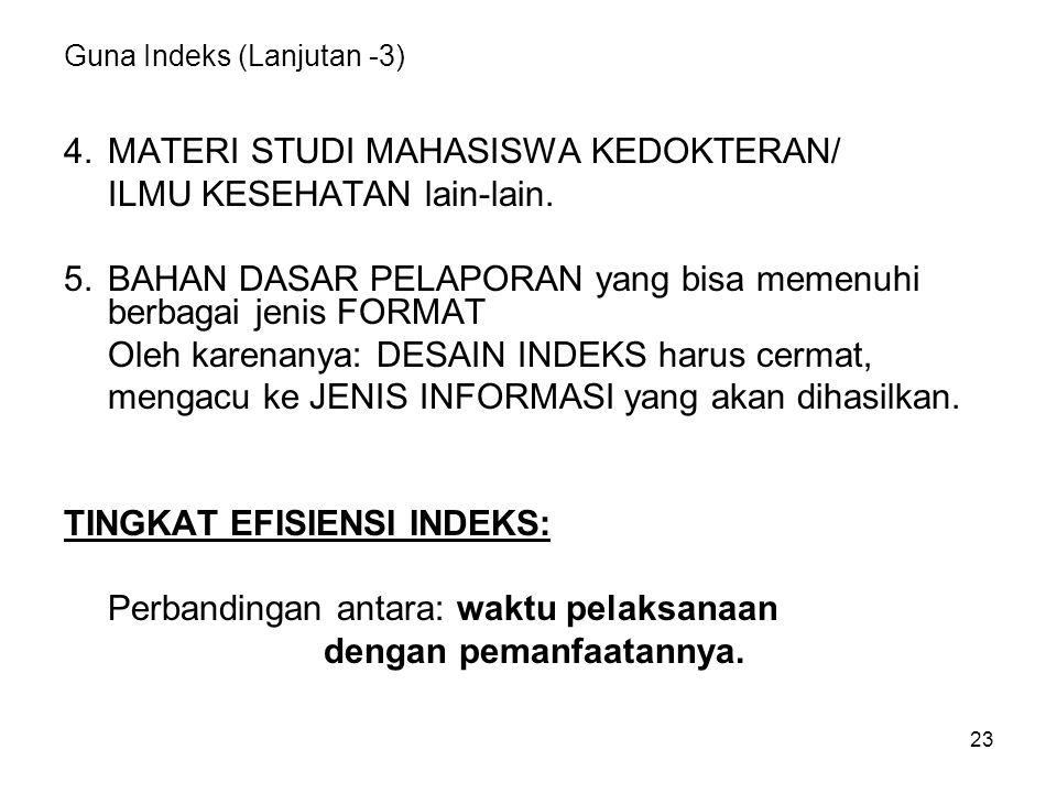 23 Guna Indeks (Lanjutan -3) 4.MATERI STUDI MAHASISWA KEDOKTERAN/ ILMU KESEHATAN lain-lain. 5.BAHAN DASAR PELAPORAN yang bisa memenuhi berbagai jenis