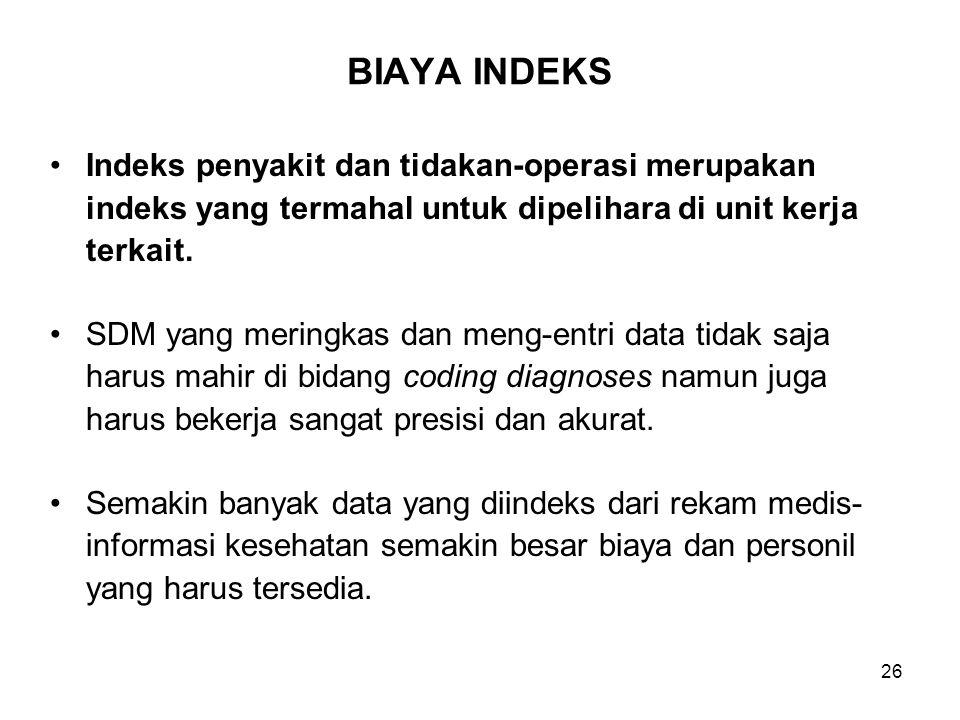 26 BIAYA INDEKS Indeks penyakit dan tidakan-operasi merupakan indeks yang termahal untuk dipelihara di unit kerja terkait. SDM yang meringkas dan meng
