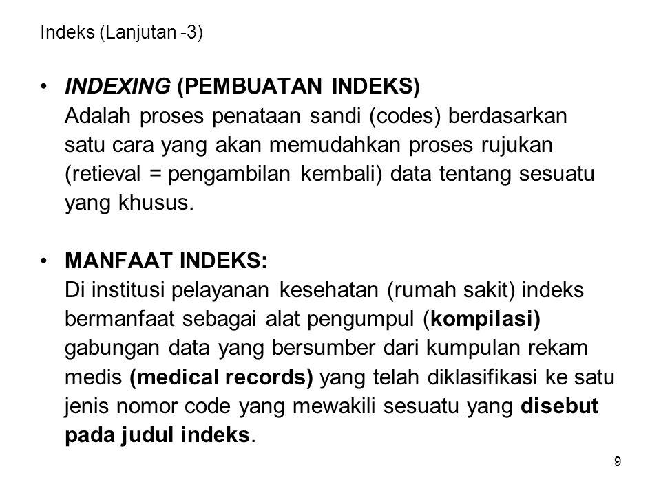 9 Indeks (Lanjutan -3) INDEXING (PEMBUATAN INDEKS) Adalah proses penataan sandi (codes) berdasarkan satu cara yang akan memudahkan proses rujukan (ret