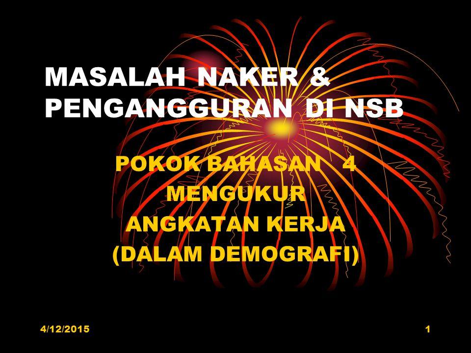 4/12/20151 MASALAH NAKER & PENGANGGURAN DI NSB POKOK BAHASAN 4 MENGUKUR ANGKATAN KERJA (DALAM DEMOGRAFI)