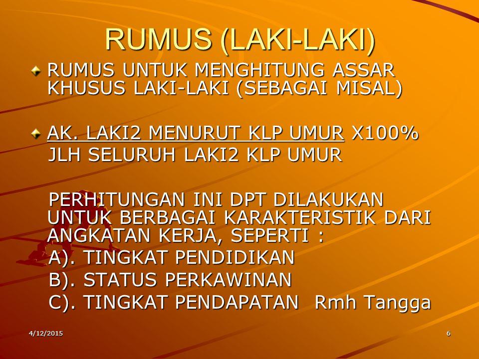 4/12/20156 RUMUS (LAKI-LAKI) RUMUS UNTUK MENGHITUNG ASSAR KHUSUS LAKI-LAKI (SEBAGAI MISAL) AK. LAKI2 MENURUT KLP UMUR X100% JLH SELURUH LAKI2 KLP UMUR