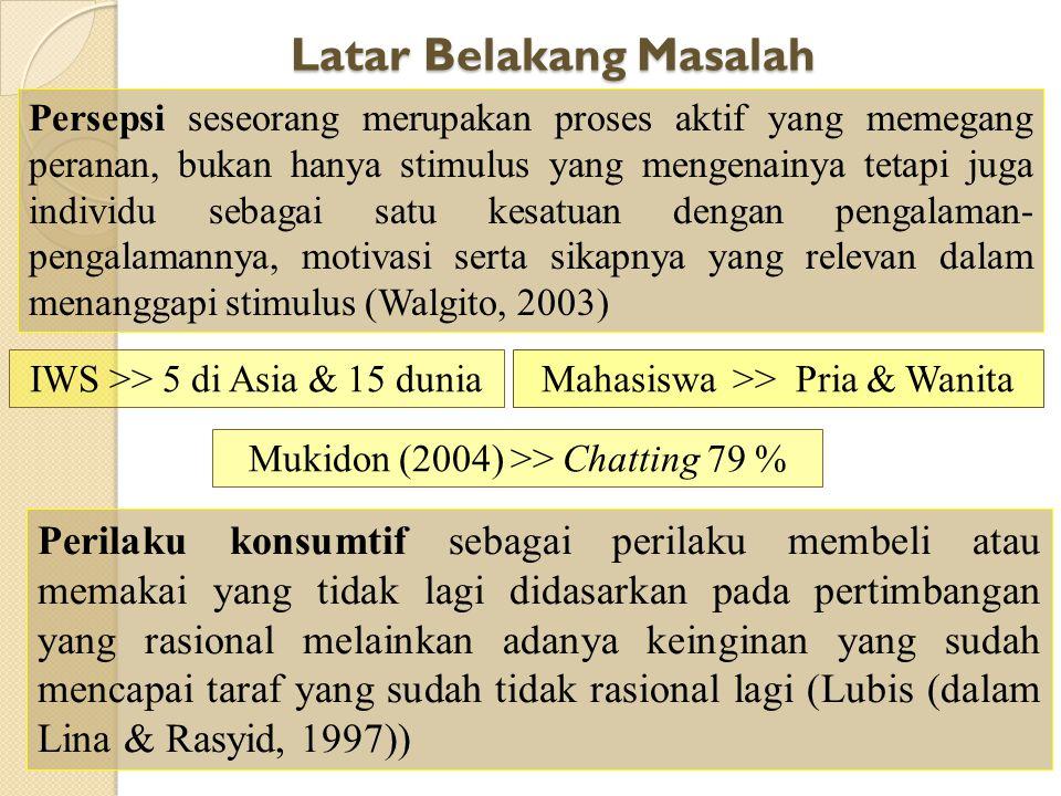 PERBEDAAN PERSEPSI PERILAKU KONSUMTIF TERHADAP CHATIING DILIHAT DARI JENIS KELAMIN MAHASISWA FAKULTAS PSIKOLOGI UNIVERSITAS GUNADARMA OLEH : AINI YUWA
