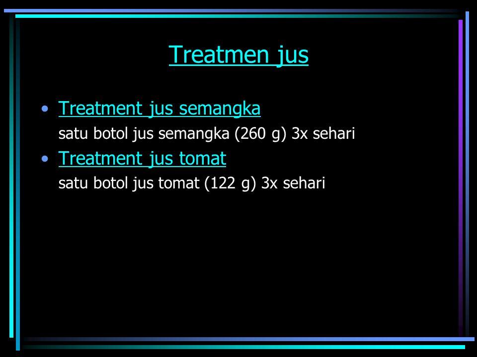 Treatmen jus Treatment jus semangka satu botol jus semangka (260 g) 3x sehari Treatment jus tomat satu botol jus tomat (122 g) 3x sehari