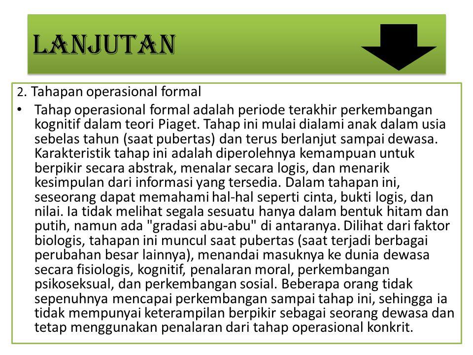 LANJUTAN 2. Tahapan operasional formal Tahap operasional formal adalah periode terakhir perkembangan kognitif dalam teori Piaget. Tahap ini mulai dial