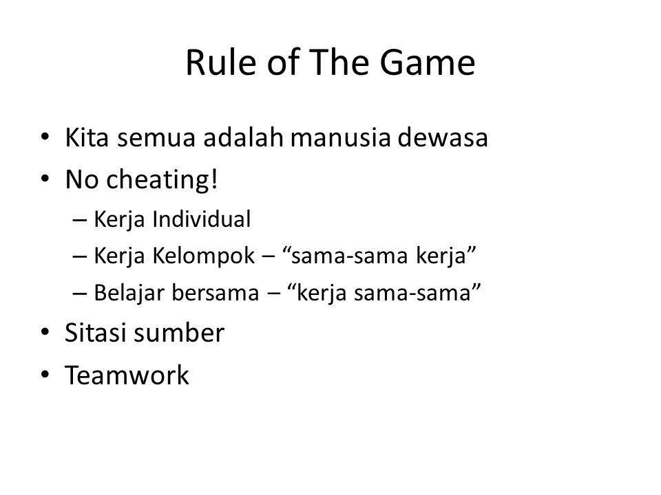 """Rule of The Game Kita semua adalah manusia dewasa No cheating! – Kerja Individual – Kerja Kelompok – """"sama-sama kerja"""" – Belajar bersama – """"kerja sama"""