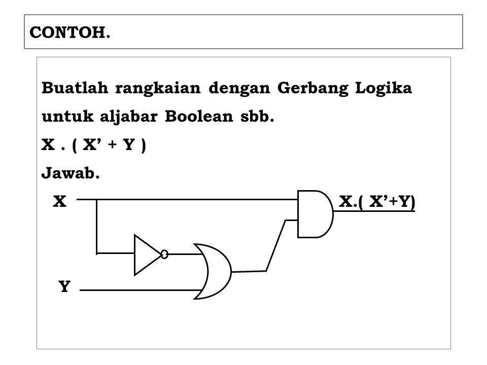 CONTOH.Buatlah rangkaian dengan Gerbang Logika untuk aljabar Boolean sbb.