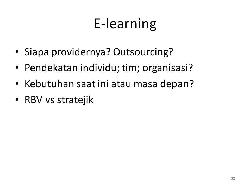 E-learning Siapa providernya? Outsourcing? Pendekatan individu; tim; organisasi? Kebutuhan saat ini atau masa depan? RBV vs stratejik 32