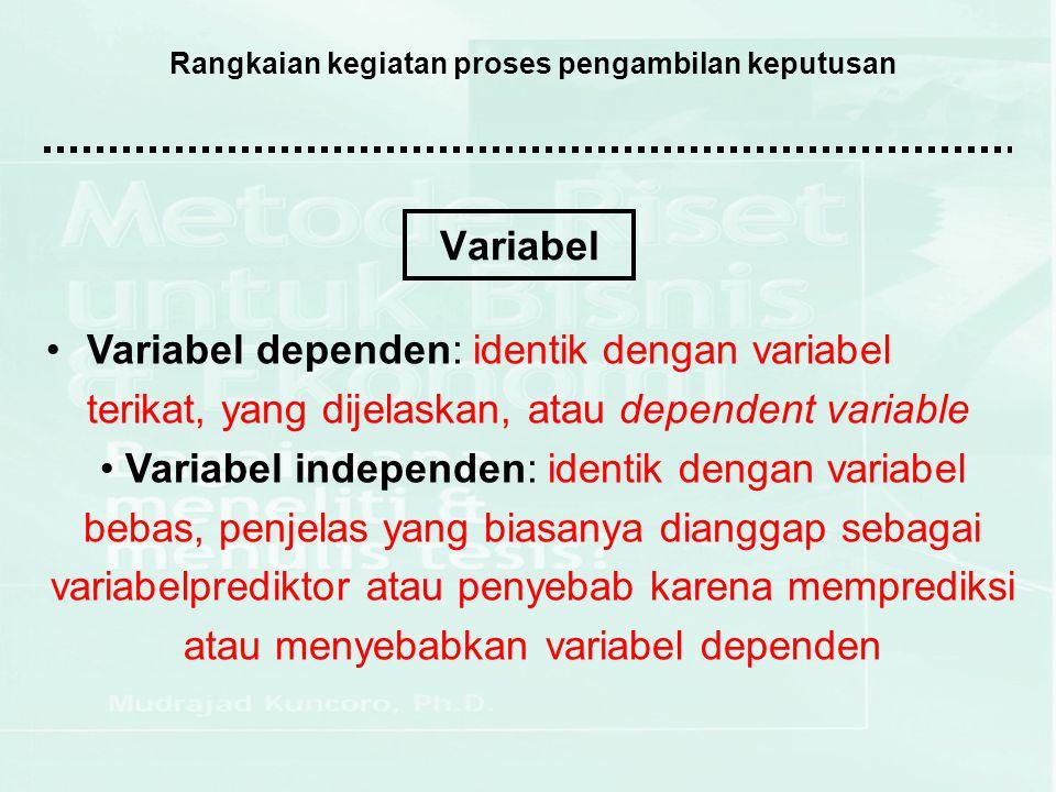 Rangkaian kegiatan proses pengambilan keputusan (2.3) Dalam ilmu ekonomi, terdapat variabel ekonomi yang dapat dibedakan menjadi:  Variabel endogin: variabel yang menjadi pusat perhatian si pembuat model, atau variabel yang ditentukan di dalam model dan ingin diamati variasinya  Variabel eksogin: variabel yang dianggap ditentukan di luar sistem (model) dan diharapkan mampu menjelaskan variasi variabel endogin  Variabel kelambanan: variabel dengan unsur lag, yang umumnya digunakan untuk data runtut waktu