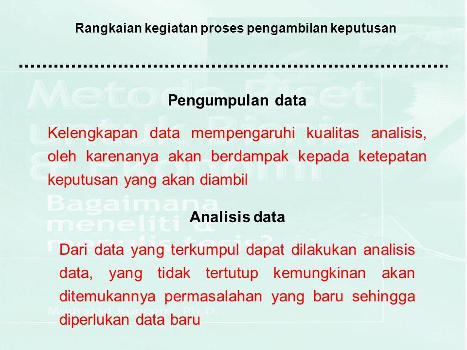 Rangkaian kegiatan proses pengambilan keputusan Evaluasi alternatif Dari berbagai alternatif keputusan yang dihasilkan melalui proses analisis data, masing-masing perlu dievaluasi berdasar kriteria yang ditentukan oleh manajemen.