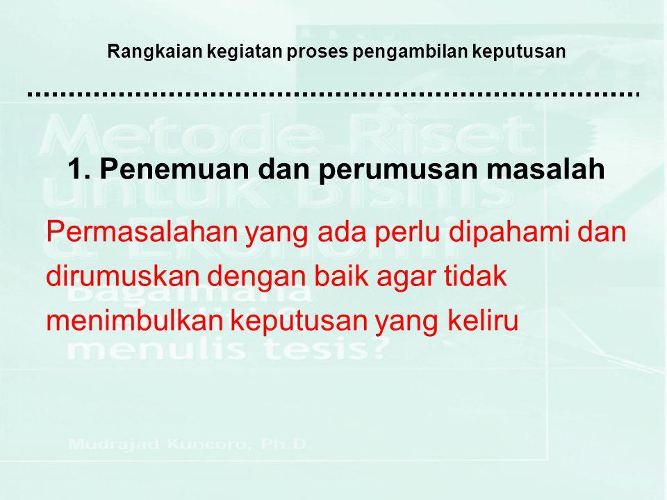 Rangkaian kegiatan proses pengambilan keputusan 2.