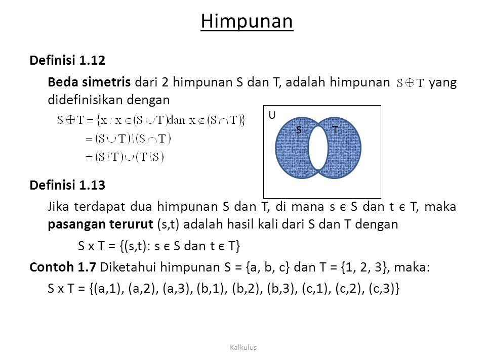 Himpunan Definisi 1.12 Beda simetris dari 2 himpunan S dan T, adalah himpunan yang didefinisikan dengan Definisi 1.13 Jika terdapat dua himpunan S dan