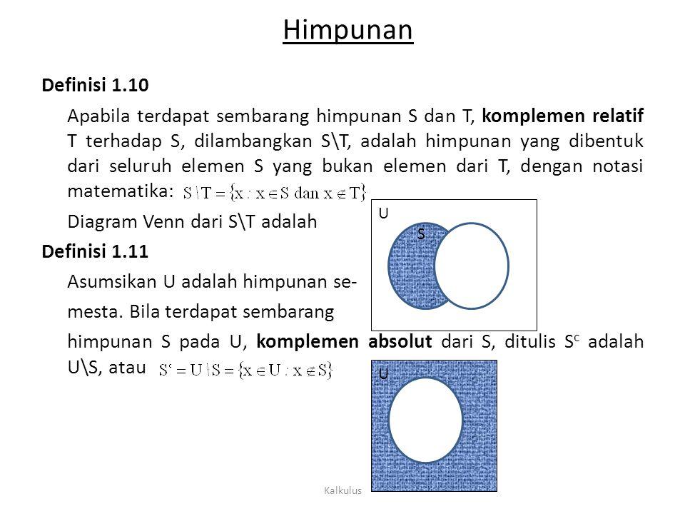 U S Himpunan Definisi 1.10 Apabila terdapat sembarang himpunan S dan T, komplemen relatif T terhadap S, dilambangkan S\T, adalah himpunan yang dibentu