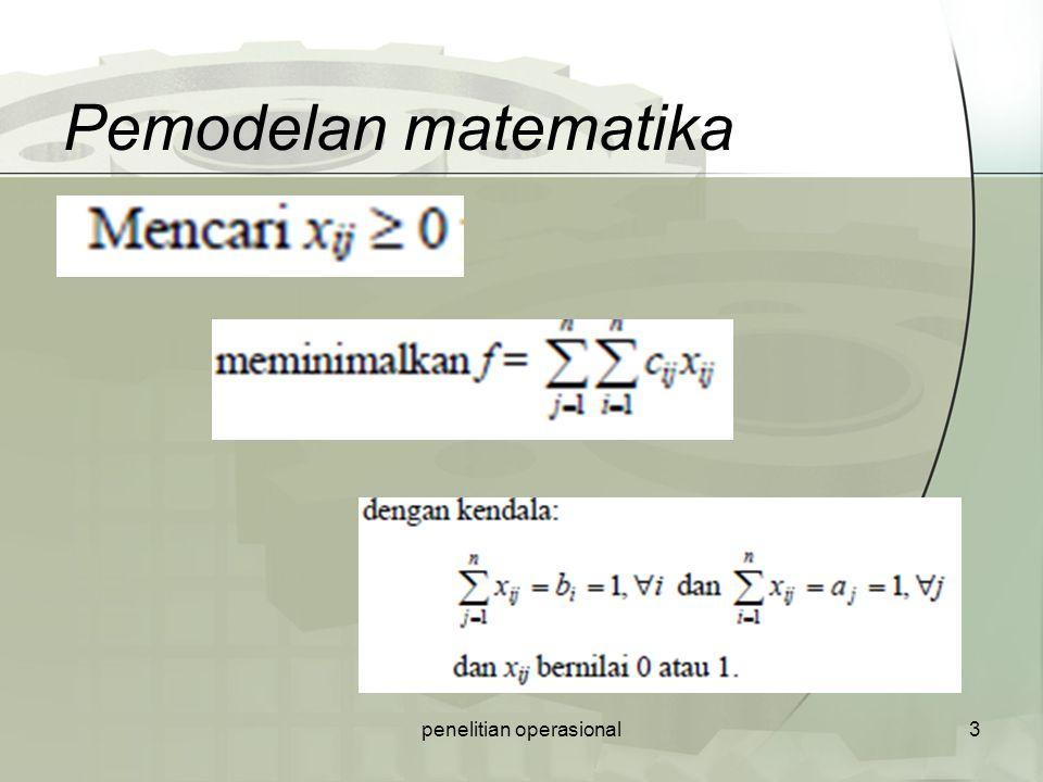 Pemodelan matematika penelitian operasional3