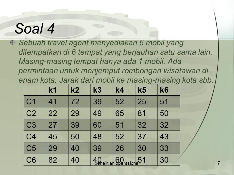 Soal 4 Sebuah travel agent menyediakan 6 mobil yang ditempatkan di 6 tempat yang berjauhan satu sama lain. Masing-masing tempat hanya ada 1 mobil. Ada