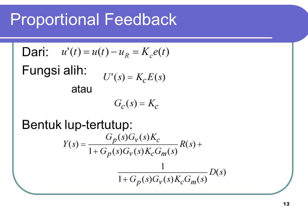 13 Proportional Feedback Dari: Fungsi alih: atau Bentuk lup-tertutup: