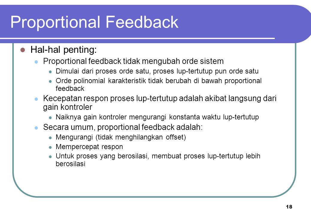 18 Proportional Feedback Hal-hal penting: Proportional feedback tidak mengubah orde sistem Dimulai dari proses orde satu, proses lup-tertutup pun orde