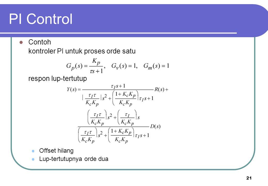 21 PI Control Contoh kontroler PI untuk proses orde satu respon lup-tertutup Offset hilang Lup-tertutupnya orde dua