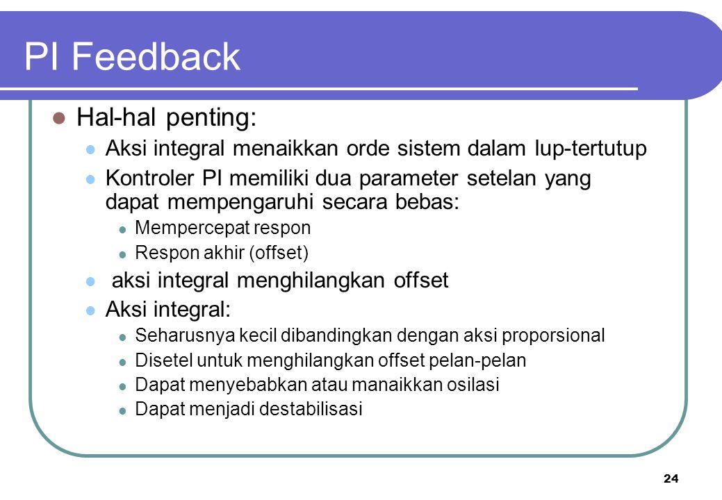 24 PI Feedback Hal-hal penting: Aksi integral menaikkan orde sistem dalam lup-tertutup Kontroler PI memiliki dua parameter setelan yang dapat mempenga