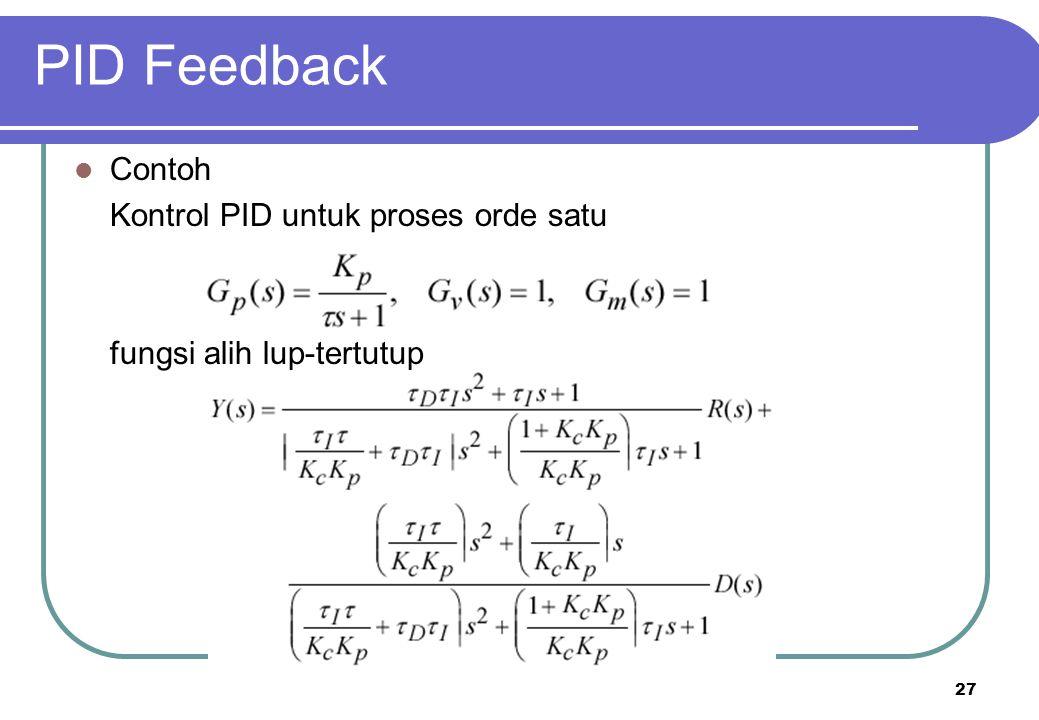 27 PID Feedback Contoh Kontrol PID untuk proses orde satu fungsi alih lup-tertutup