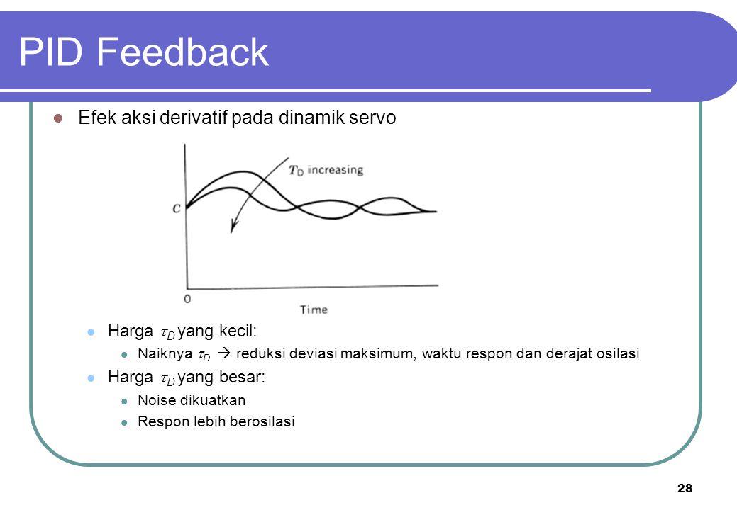 28 PID Feedback Efek aksi derivatif pada dinamik servo Harga  D yang kecil: Naiknya  D  reduksi deviasi maksimum, waktu respon dan derajat osilasi