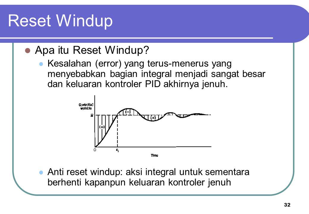 32 Reset Windup Apa itu Reset Windup? Kesalahan (error) yang terus-menerus yang menyebabkan bagian integral menjadi sangat besar dan keluaran kontrole