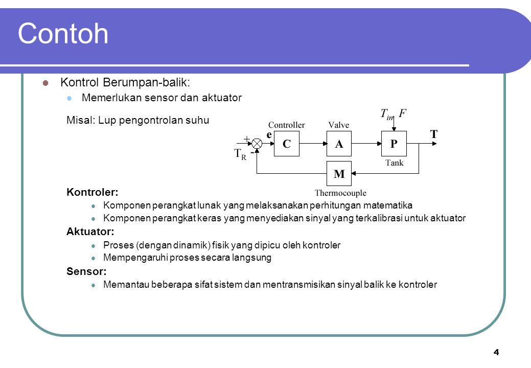 4 Contoh Kontrol Berumpan-balik: Memerlukan sensor dan aktuator Misal: Lup pengontrolan suhu Kontroler: Komponen perangkat lunak yang melaksanakan per