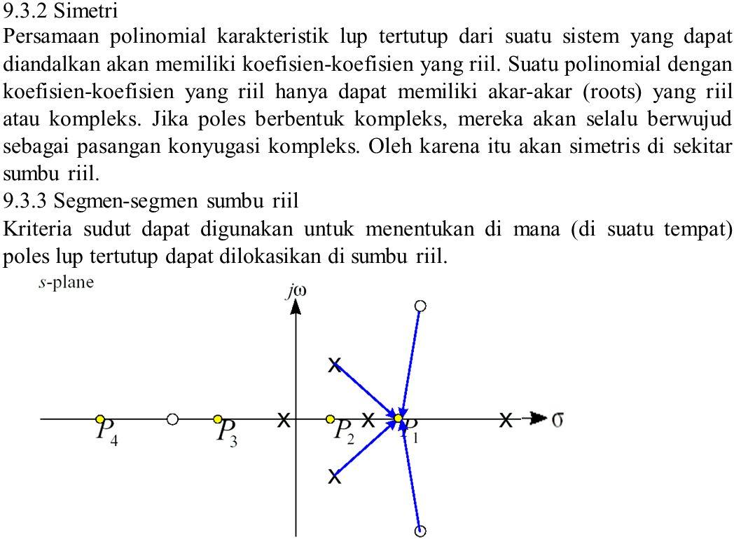 Kontribusi Sudut di Sumbu Di suatu titik P1, P2, P3 atau P4 - Kontribusi angular tiap-tiap pole atau zero kompleks lup terbuka adalah nol - Kontribusi poles atau zeros riil lup terbuka terhadap sebelah kiri adalah nol - Sudut kontribusi bergantian antara 0 o dan 180 o.