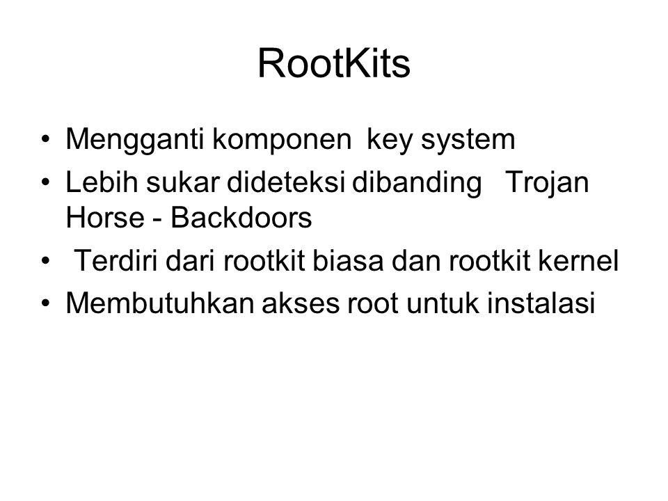 RootKits Mengganti komponen key system Lebih sukar dideteksi dibanding Trojan Horse - Backdoors Terdiri dari rootkit biasa dan rootkit kernel Membutuh