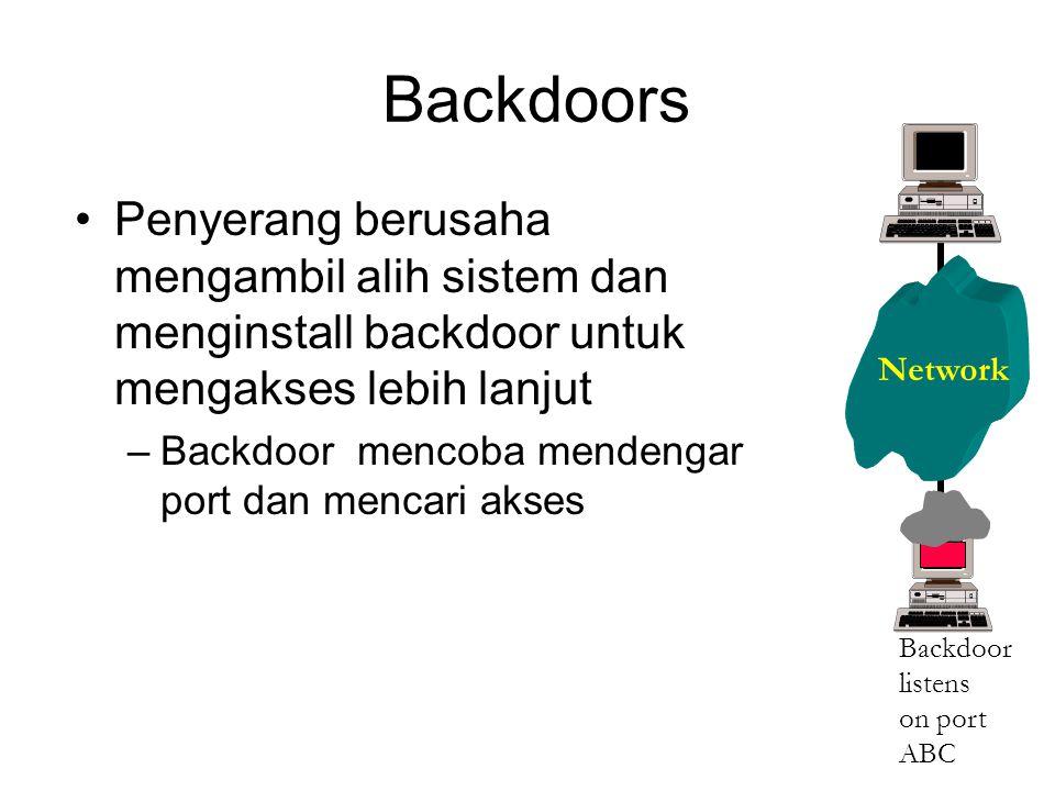 Backdoors Penyerang berusaha mengambil alih sistem dan menginstall backdoor untuk mengakses lebih lanjut –Backdoor mencoba mendengar port dan mencari