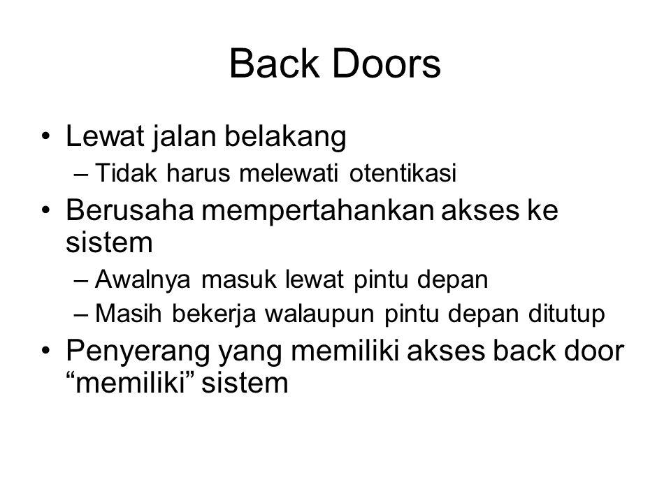 Back Doors Lewat jalan belakang –Tidak harus melewati otentikasi Berusaha mempertahankan akses ke sistem –Awalnya masuk lewat pintu depan –Masih beker