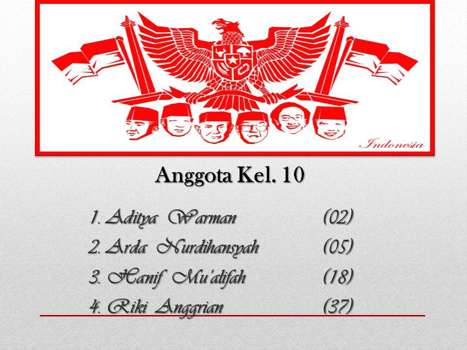Anggota Kel. 10 1. Aditya Warman (02) 2. Arda Nurdihansyah(05) 3. Hanif Mu'alifah(18) 4. Riki Anggrian(37)