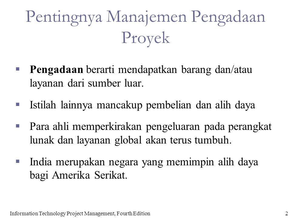 2 Pentingnya Manajemen Pengadaan Proyek  Pengadaan berarti mendapatkan barang dan/atau layanan dari sumber luar.  Istilah lainnya mancakup pembelian
