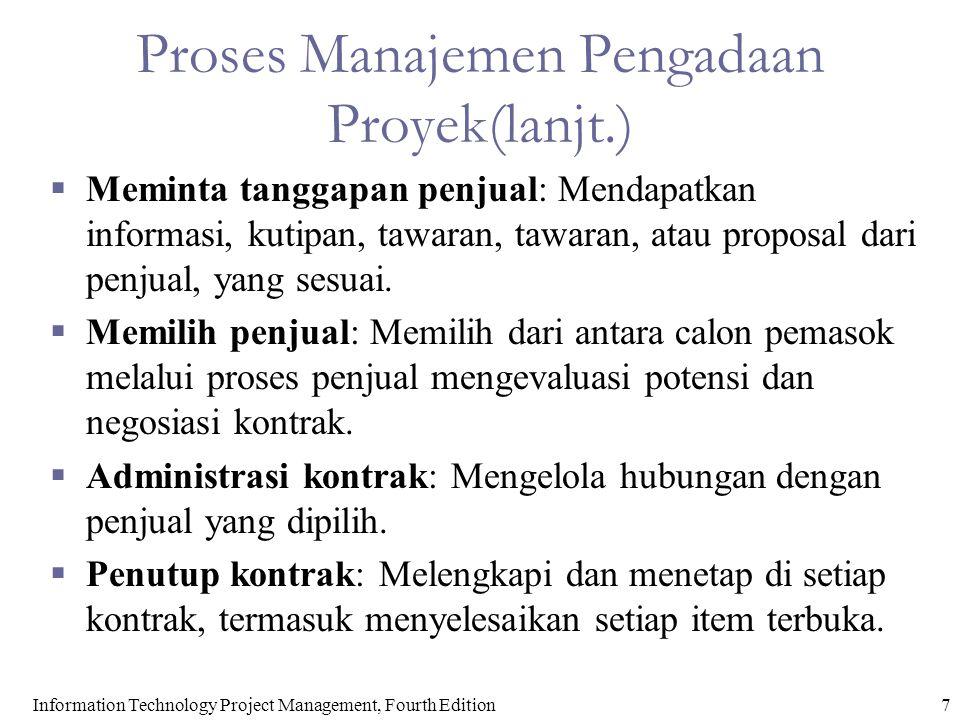 Proses Manajemen Pengadaan Proyek(lanjt.)  Meminta tanggapan penjual: Mendapatkan informasi, kutipan, tawaran, tawaran, atau proposal dari penjual, yang sesuai.