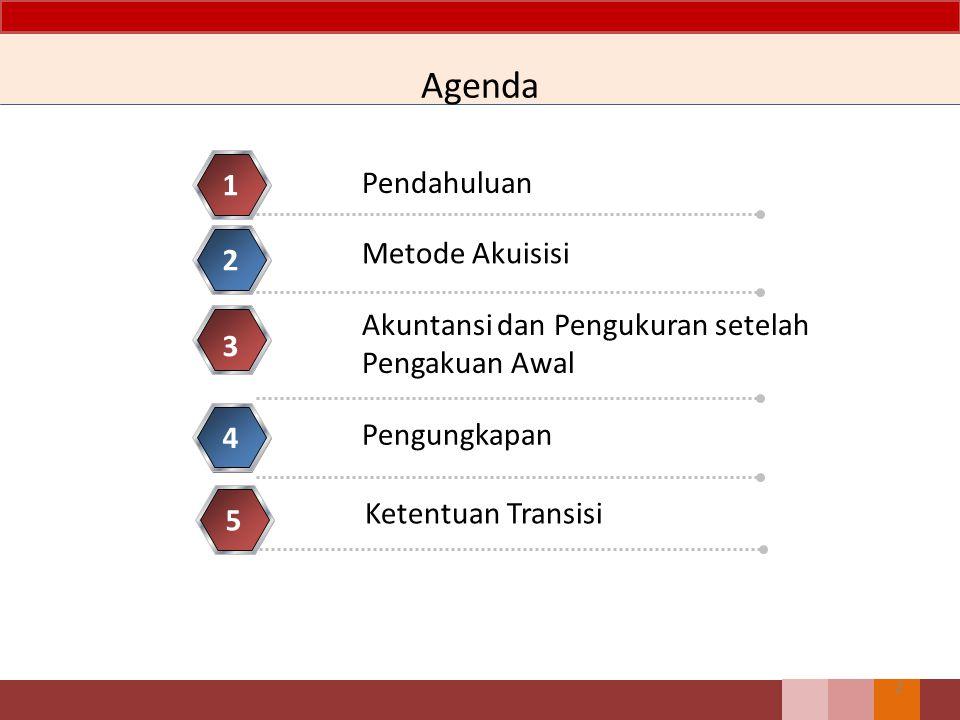 Agenda Pendahuluan 1 Metode Akuisisi 2 Akuntansi dan Pengukuran setelah Pengakuan Awal 3 Pengungkapan 4 2 Ketentuan Transisi 5