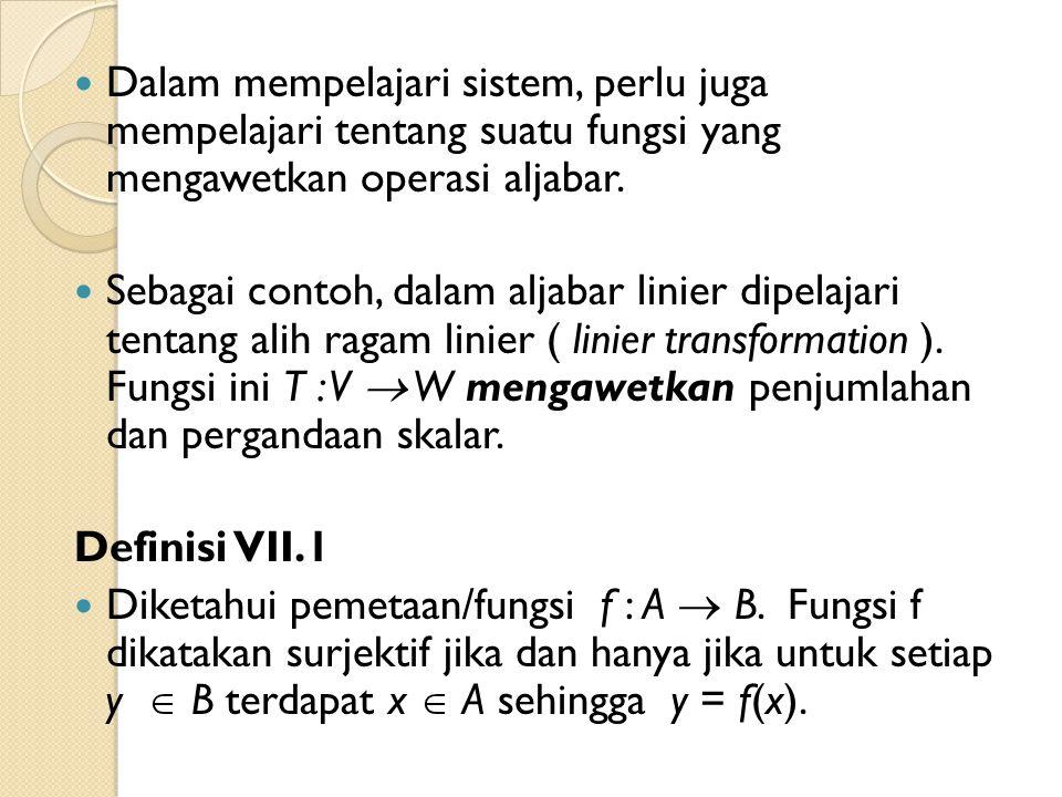 Contoh VII.1 : Diketahui fungsi f : R  R dengan f(x) = x.