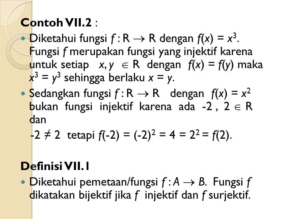 Contoh VII.2 : Diketahui fungsi f : R  R dengan f(x) = x 3. Fungsi f merupakan fungsi yang injektif karena untuk setiap x, y  R dengan f(x) = f(y) m