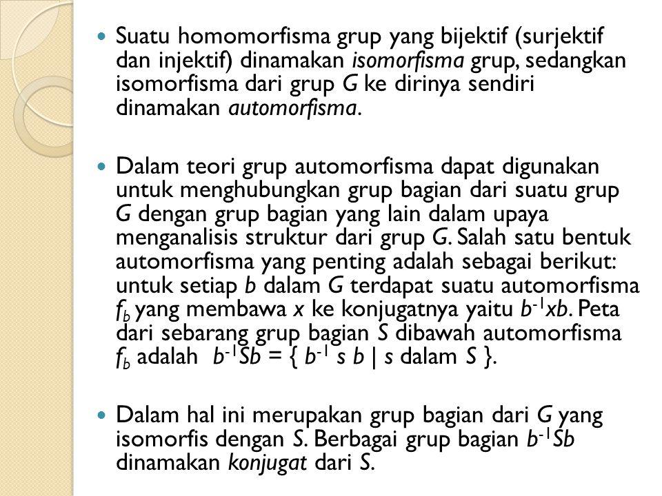 Suatu homomorfisma grup yang bijektif (surjektif dan injektif) dinamakan isomorfisma grup, sedangkan isomorfisma dari grup G ke dirinya sendiri dinama