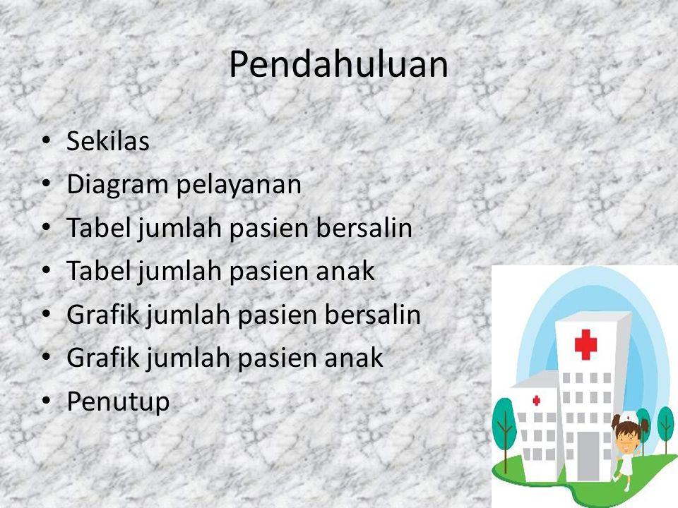 Pendahuluan Sekilas Diagram pelayanan Tabel jumlah pasien bersalin Tabel jumlah pasien anak Grafik jumlah pasien bersalin Grafik jumlah pasien anak Pe