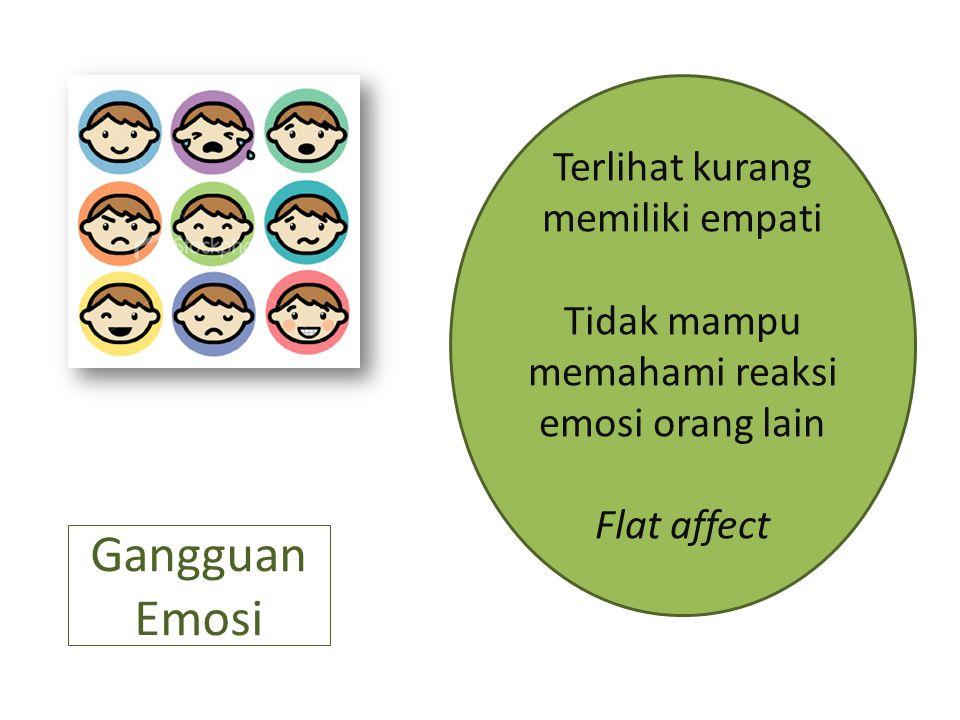 Gangguan Emosi Terlihat kurang memiliki empati Tidak mampu memahami reaksi emosi orang lain Flat affect