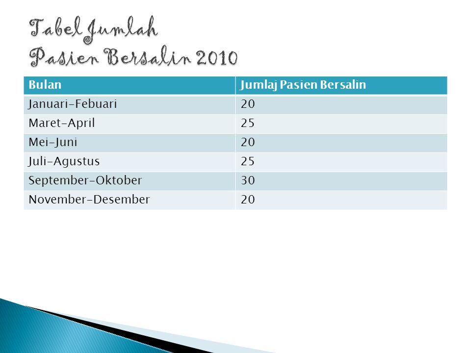 Tabel Jumlah Pasien Anak 2010 BulanJumlaj Pasien Bersalin Januari-Febuari22 Maret-April40 Mei-Juni35 Juli-Agustus50 September-Oktober45 November-Desember55