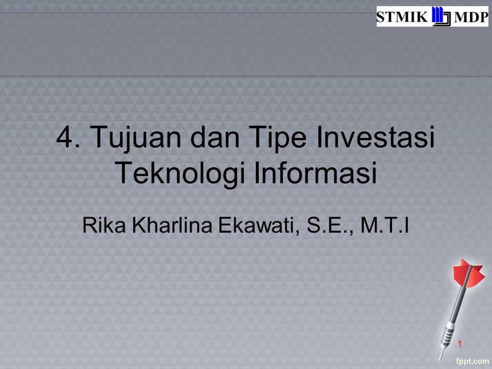 4. Tujuan dan Tipe Investasi Teknologi Informasi Rika Kharlina Ekawati, S.E., M.T.I 1