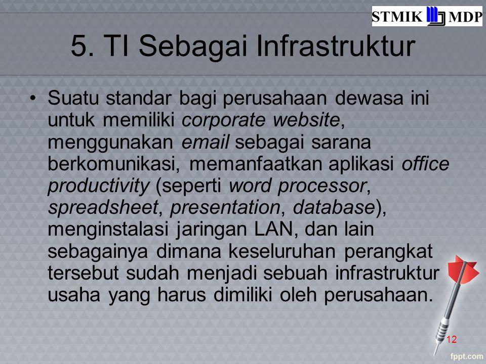 5. TI Sebagai Infrastruktur Suatu standar bagi perusahaan dewasa ini untuk memiliki corporate website, menggunakan email sebagai sarana berkomunikasi,