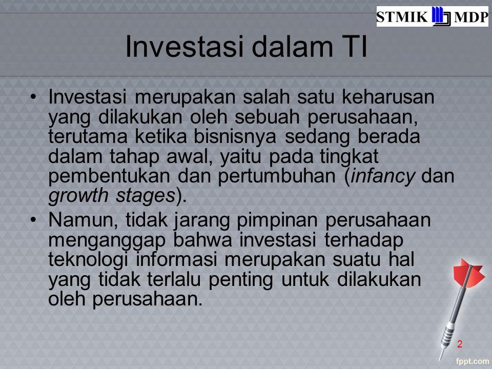 Investasi dalam TI Investasi merupakan salah satu keharusan yang dilakukan oleh sebuah perusahaan, terutama ketika bisnisnya sedang berada dalam tahap