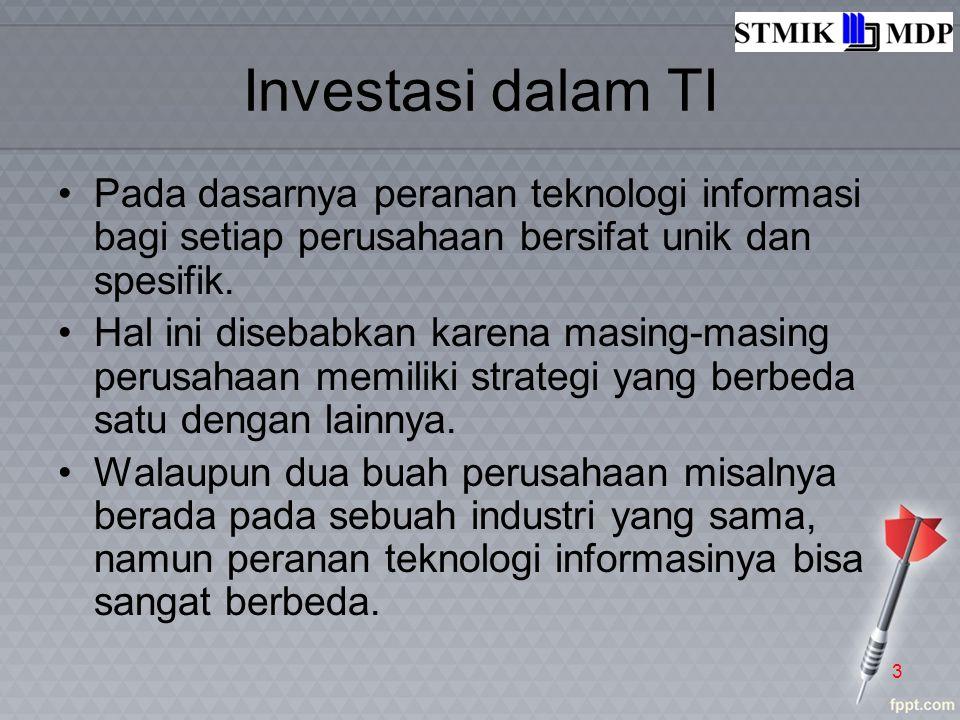 Investasi dalam TI Pada dasarnya peranan teknologi informasi bagi setiap perusahaan bersifat unik dan spesifik. Hal ini disebabkan karena masing-masin