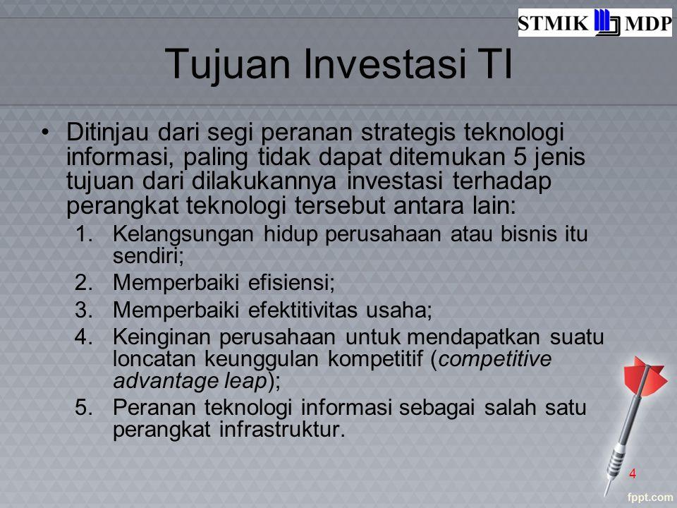 Tujuan Investasi TI Ditinjau dari segi peranan strategis teknologi informasi, paling tidak dapat ditemukan 5 jenis tujuan dari dilakukannya investasi