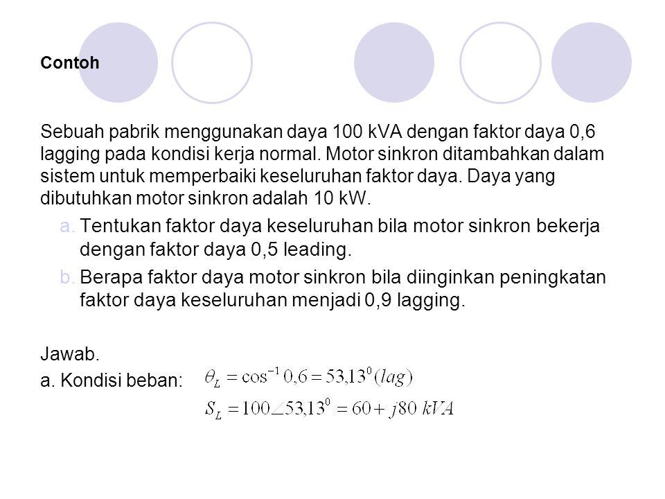 Contoh Sebuah pabrik menggunakan daya 100 kVA dengan faktor daya 0,6 lagging pada kondisi kerja normal.