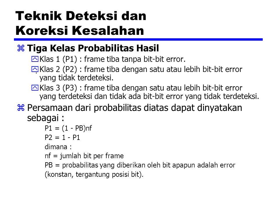 Teknik Deteksi dan Koreksi Kesalahan zTiga Kelas Probabilitas Hasil yKlas 1 (P1) : frame tiba tanpa bit-bit error.