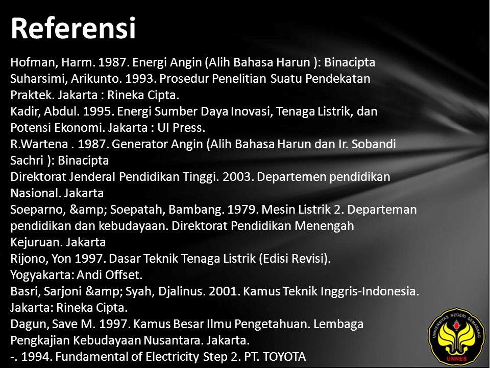Referensi Hofman, Harm. 1987. Energi Angin (Alih Bahasa Harun ): Binacipta Suharsimi, Arikunto.
