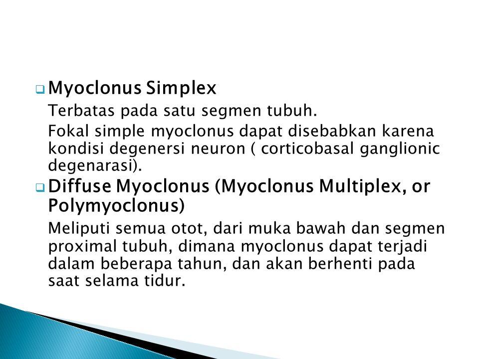  Myoclonus Simplex Terbatas pada satu segmen tubuh. Fokal simple myoclonus dapat disebabkan karena kondisi degenersi neuron ( corticobasal ganglionic