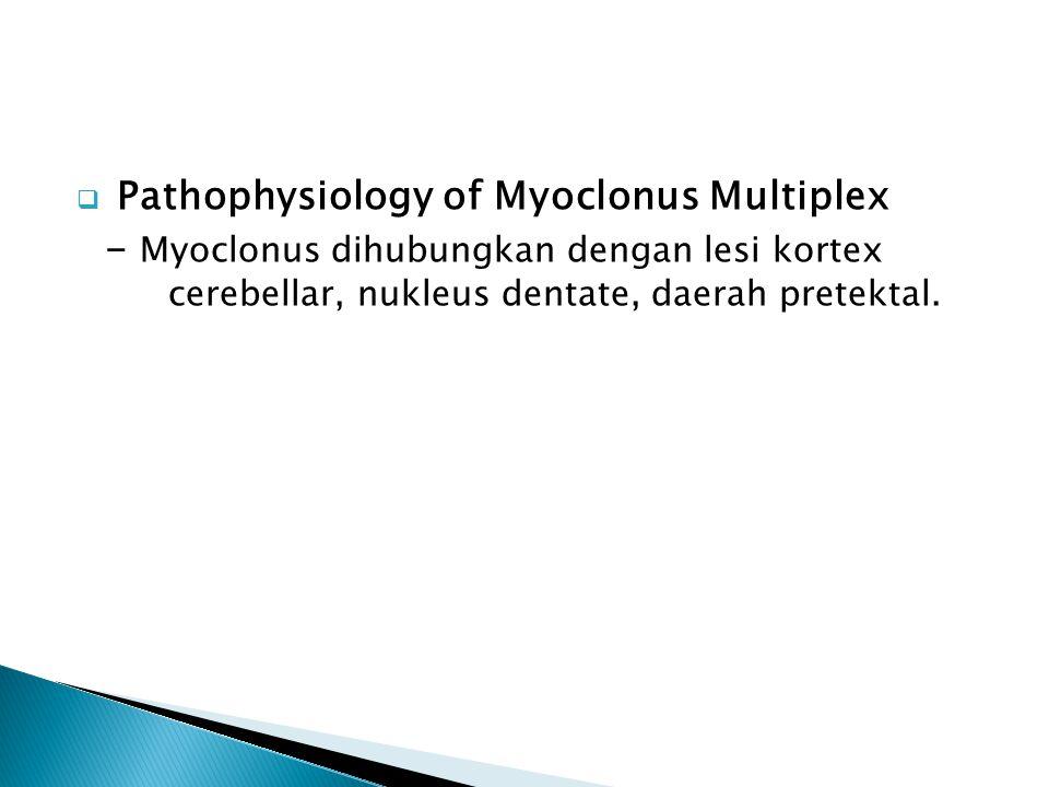 Pathophysiology of Myoclonus Multiplex - Myoclonus dihubungkan dengan lesi kortex cerebellar, nukleus dentate, daerah pretektal.